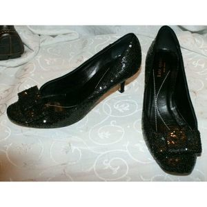 Kate Spade Black Sequin Glitter Closed Toe Size 9